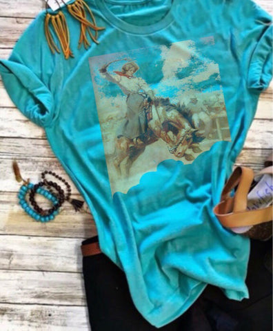 Turquoise tee Bucking horse with girl