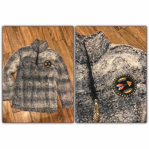 "Beaded 1/4"" zip sherpa"