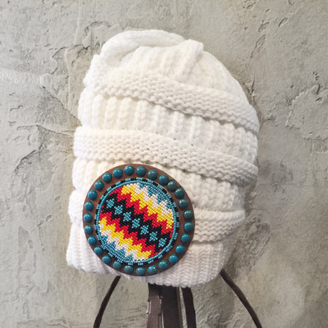 White Beaded Turquoise Stone Beanie