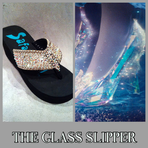 Disney inspired Swarovski crystal flip flip THE GLASS SLIPPER