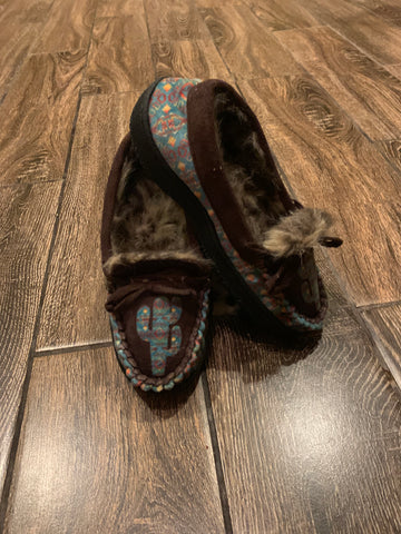 Fur lined moccasin Turquoise Cactus
