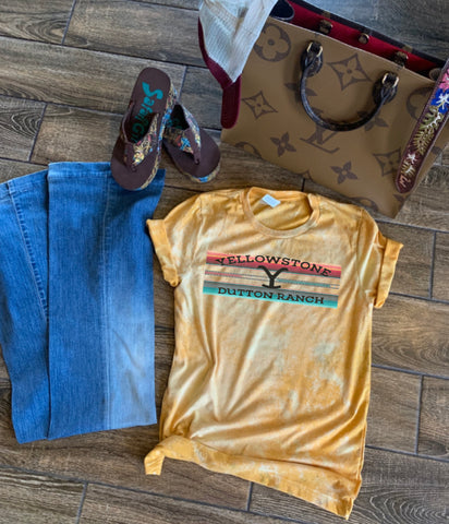 Yellow distressed tee serape Yellowstone
