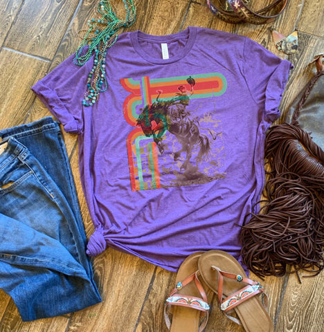Purple tee retro bronc