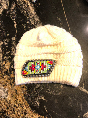 Winter white beanie beaded