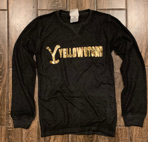 Long sleeve waffle with gold glitter Yellowstone