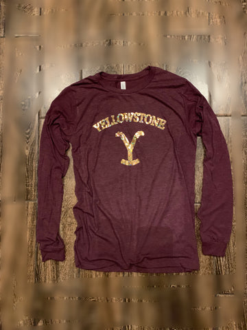 Maroon Yellowstone long sleeve shirt