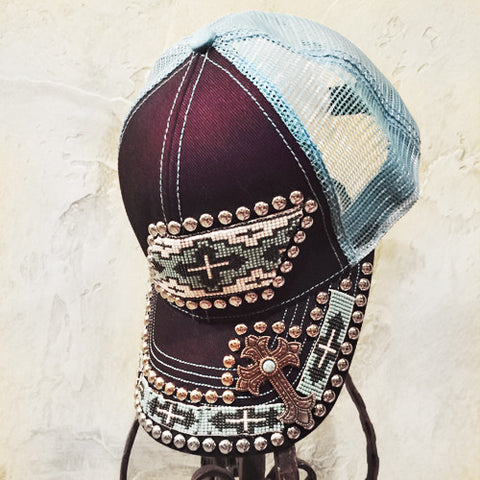 Turquoise and Blue Cross Beaded Cap