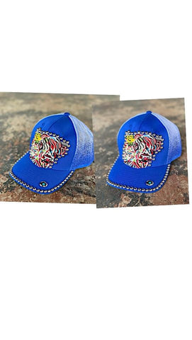 Royal shaggy bull beaded hat