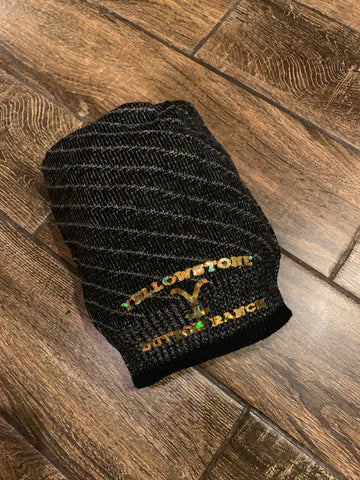 Black and gray stripped beanie Yellowstone
