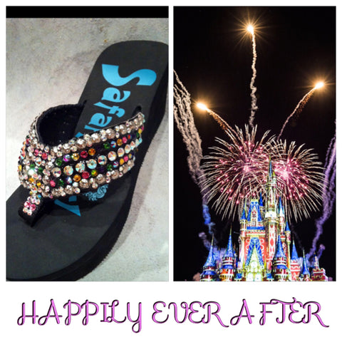 Disney Inspired Swarovski crystal flip flops HAPPILY EVER AFTER