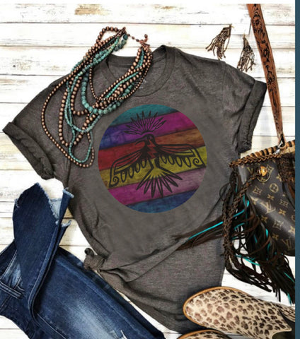Charcoal tee bright colors tbird circle