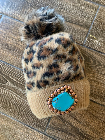 Leopard beanie turquoise slab