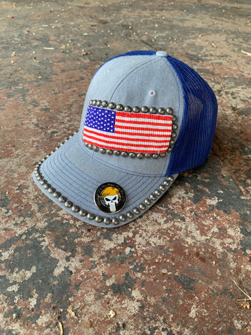 American flag WWG1WGA CONCHO beaded hat
