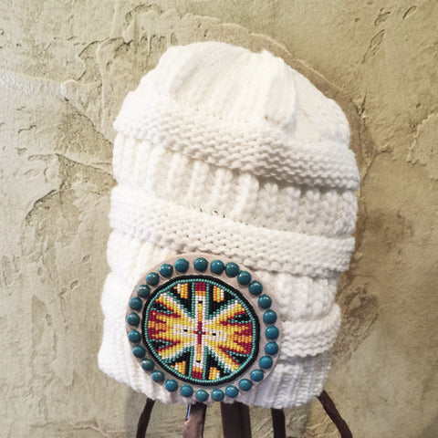 White Bombshell Beaded Beanie