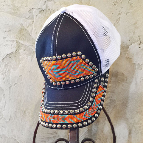 Blue and Orange Beaded Arrow Cap
