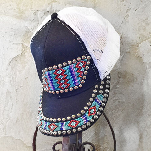 Blue and Red Diamond Beaded Cap