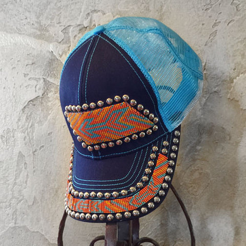 Orange and Turquoise Arrow Beaded Cap