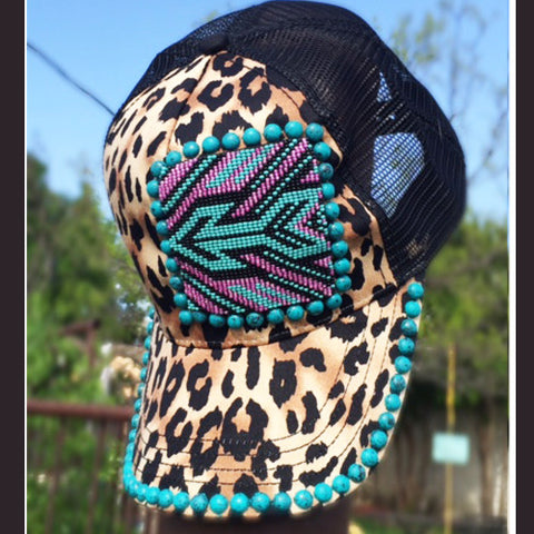 Arrow Beaded Leopard Cap