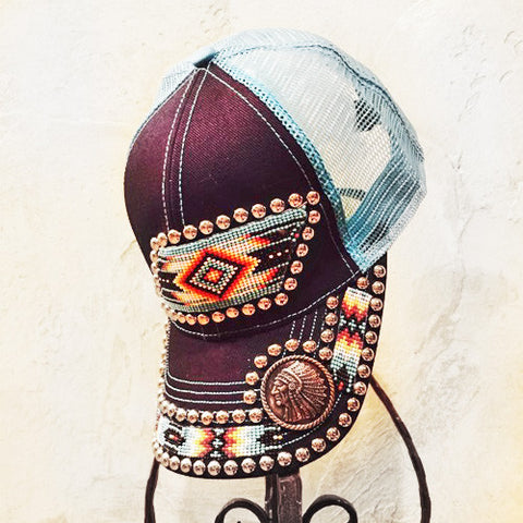 Blue Aztec Chief Cap