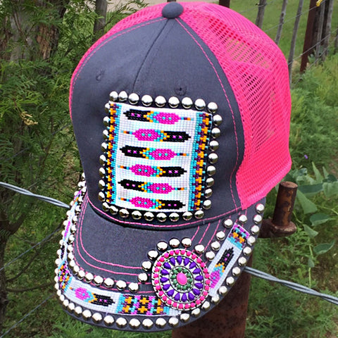 Feather Beaded Pink Concho Cap