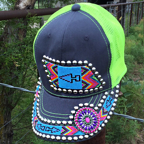 Arrow Beaded Concho Cap
