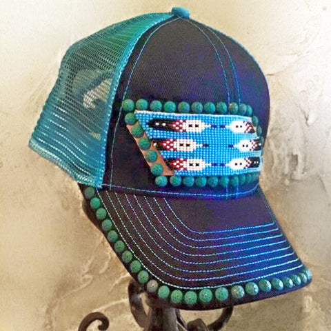 Blue & Turquoise Beaded Cap