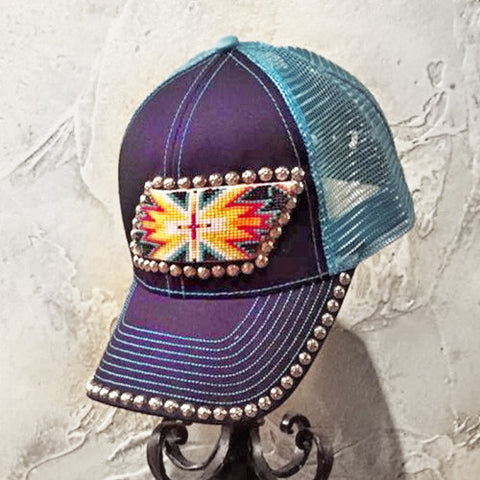 Blue Beaded Silver Trim Cap