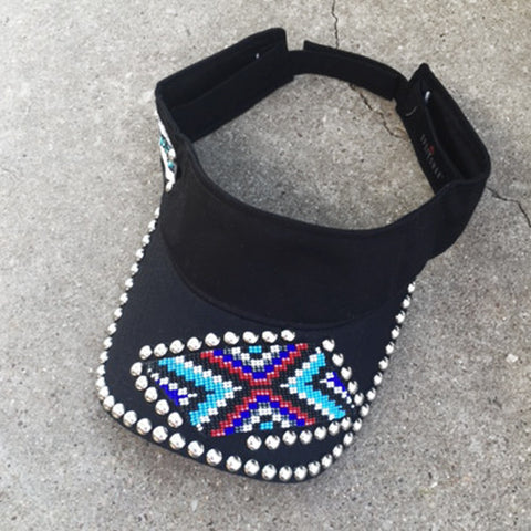 Crossed Beaded Visor