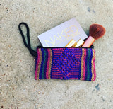 Serape Cloth make up or coin purse with strap --MORE COLOR CHOICES