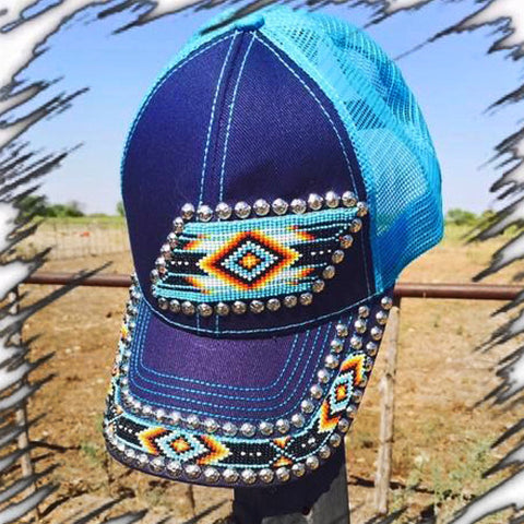 Blue and Turquoise Aztec Cap