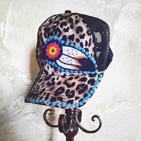 Leopard Beaded Feather Cap