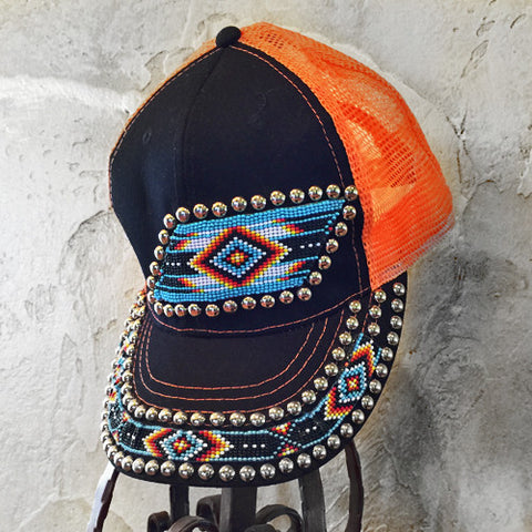 Black and Orange Diamond Beaded Cap