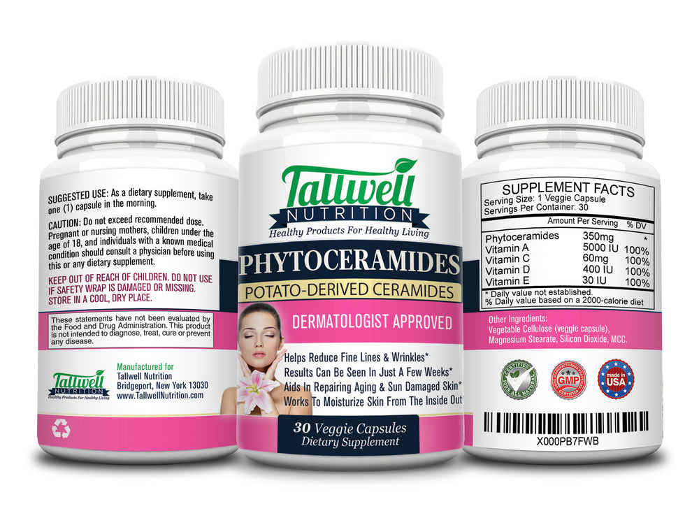 Phytoceramides Anti Aging Skin & Wrinkle Supplement — Powerful Plant Based Ceramides - Tallwell Nutrition