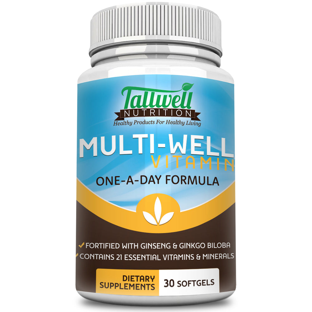 Multi-Well Best Liquid MultiVitamin with Ginseng Root & Ginkgo Biloba Leaf - Tallwell Nutrition