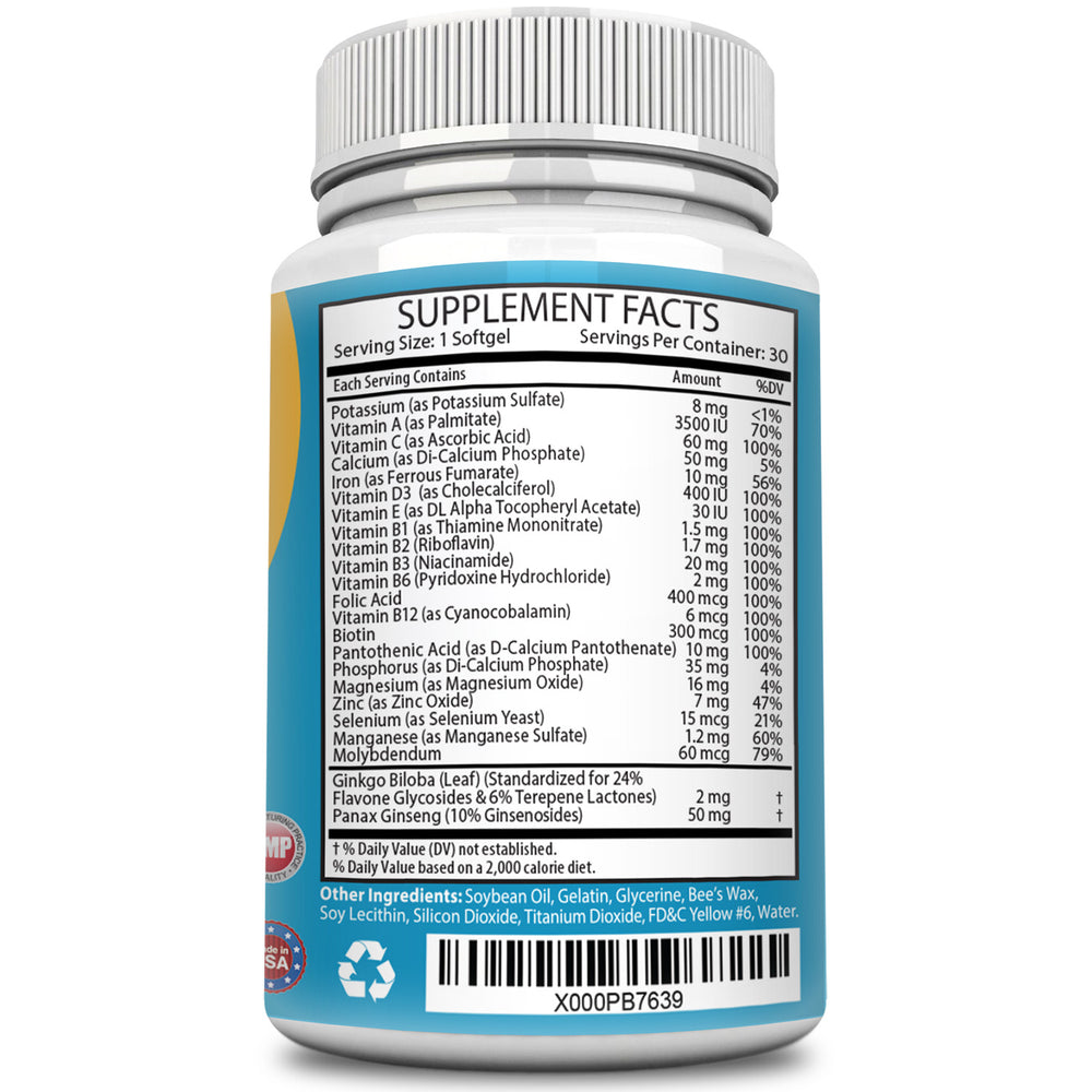 Multi-Well Best MultiVitamins fortified with Panax Ginseng & Gingko Biloba - Tallwell Nutrition
