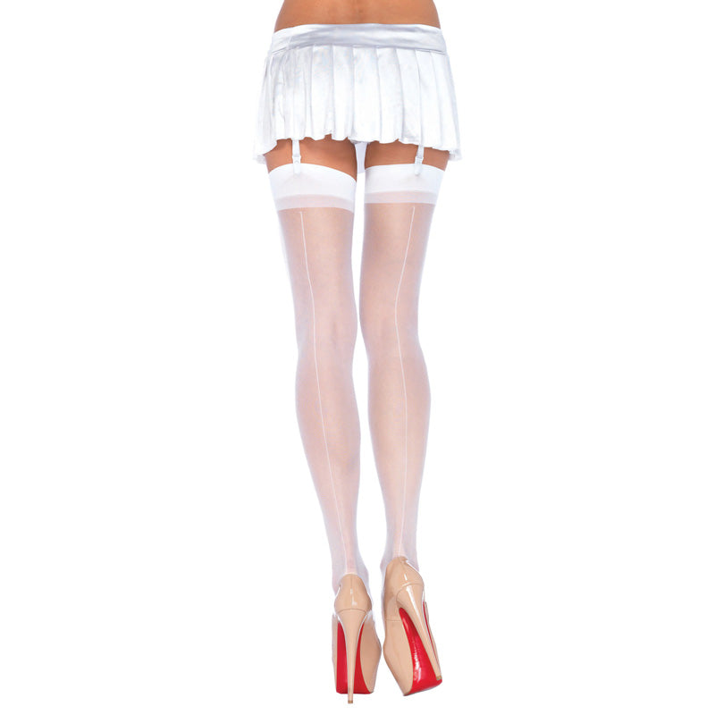 Leg Avenue Sheer Stockings White UK 8 to 14