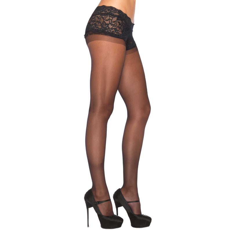 Leg Avenue Sheer Boyshort Pantyhose UK 8 to 14