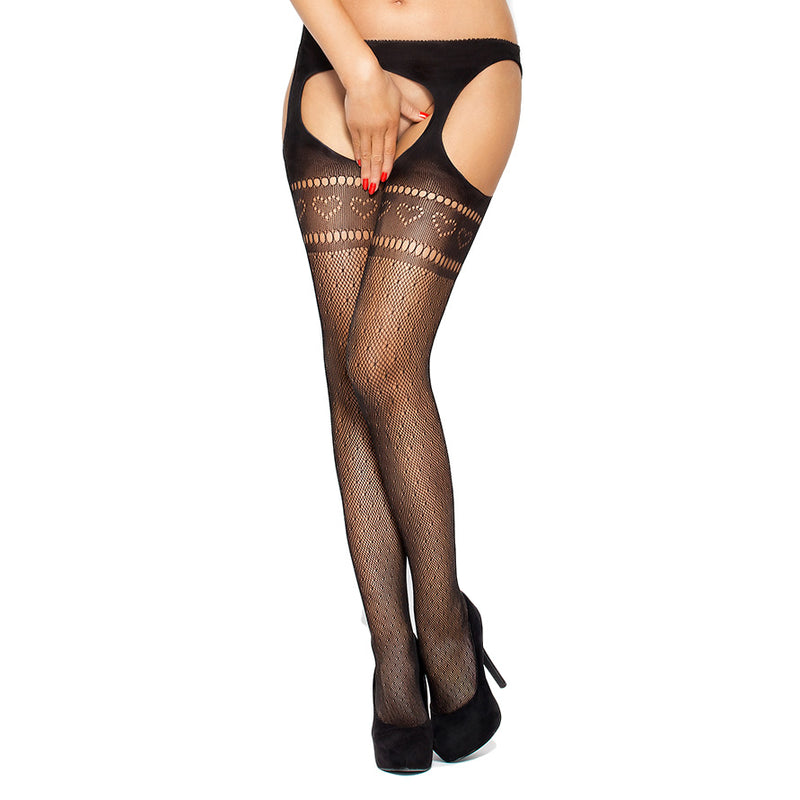 Passion Open Crotch Heart Stockings Black