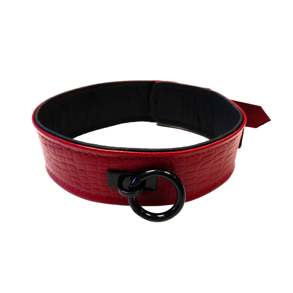Rouge Garments Leather Croc Print Collar