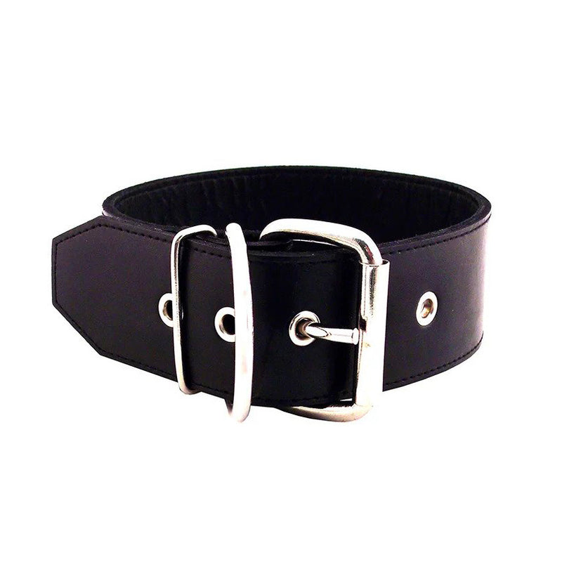 Rouge Garments 50mm Plain Black Leather Collar
