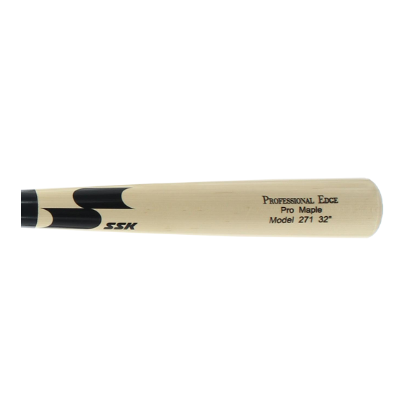 SSK Professional Edge Pro Maple Wood Baseball Bat: 271 Model Natural/Black/Black