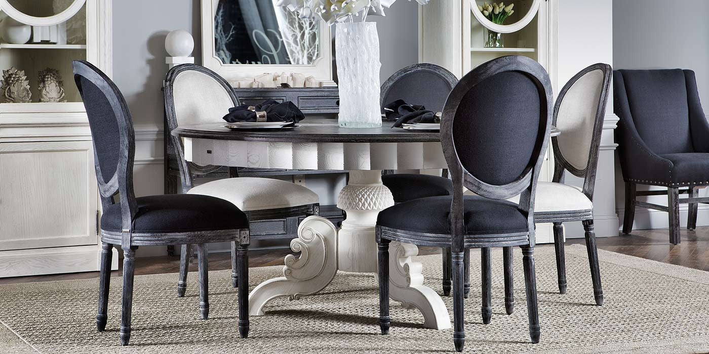 Antique Black & Vintage White French Round Dining
