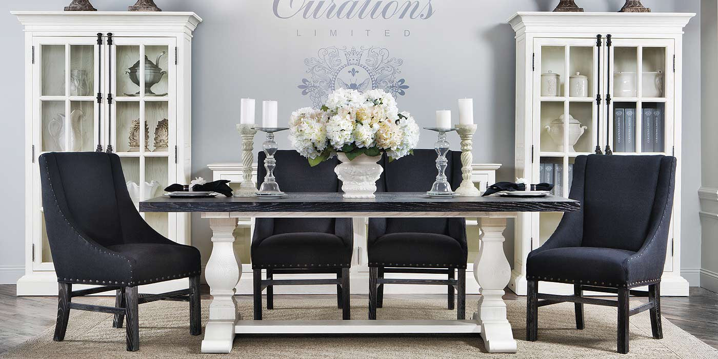 Dining Room Collection Antique Black & Vintage White Trestle Dining
