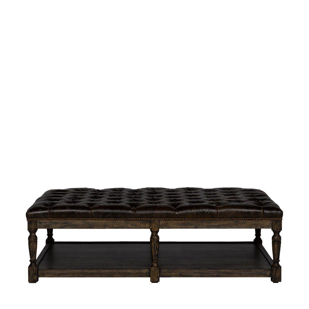 Curations Limited Tufted Leather Coffee Ottoman