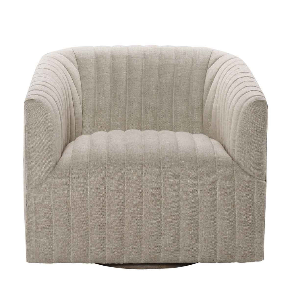 Curations Limited Sete Strip Linen Swivel Arm Chair