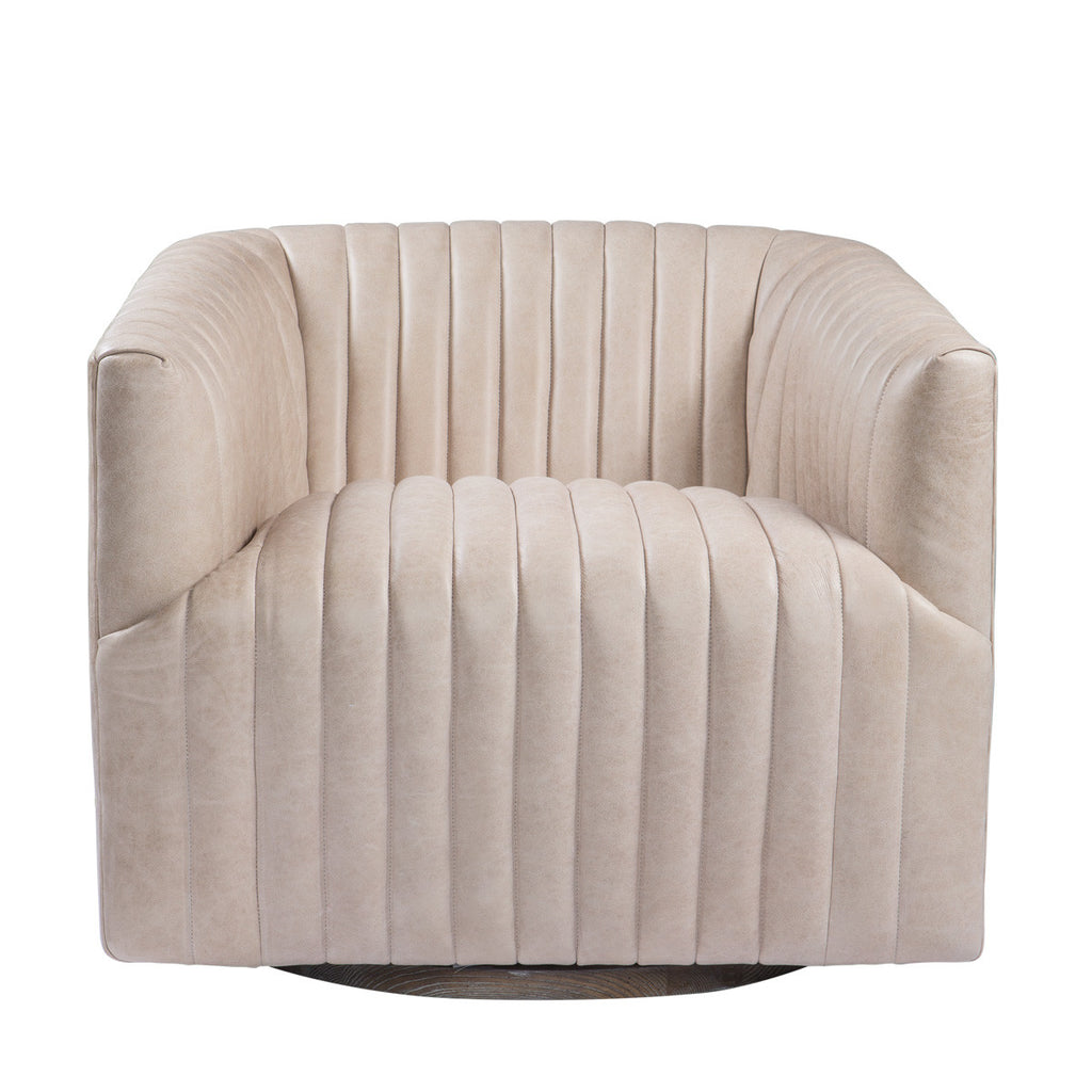 Sete Strip Leather Swivel Arm Chair
