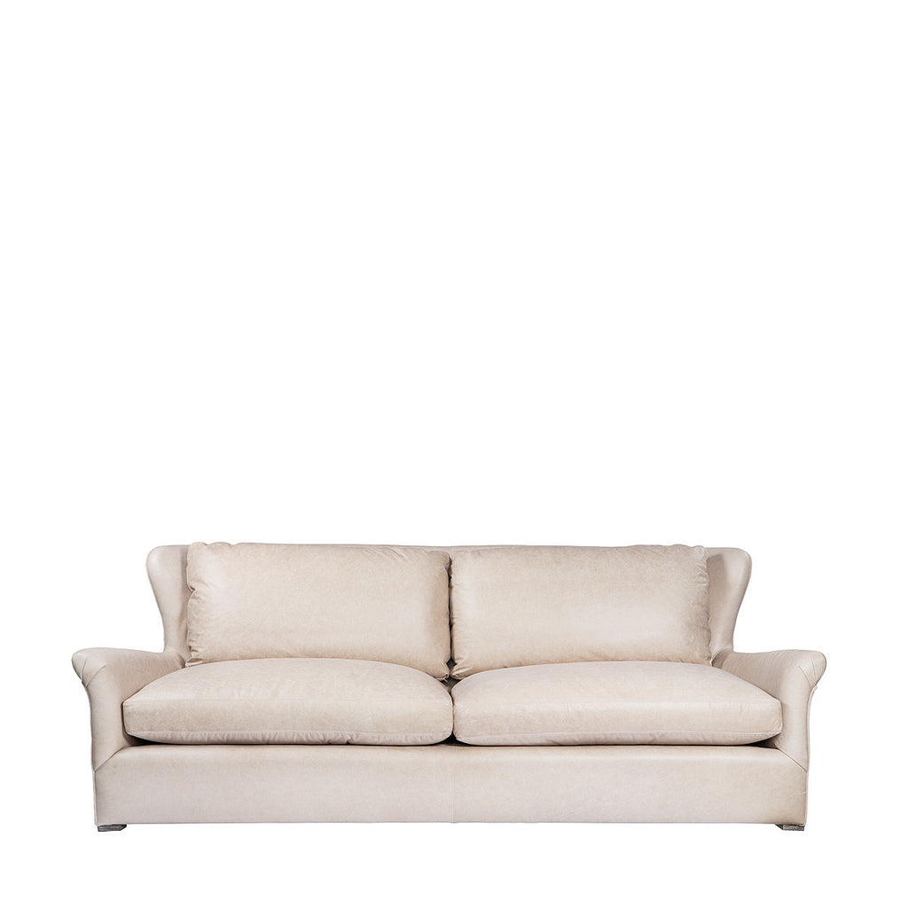 Winslow Leather Sofa Velvet Back