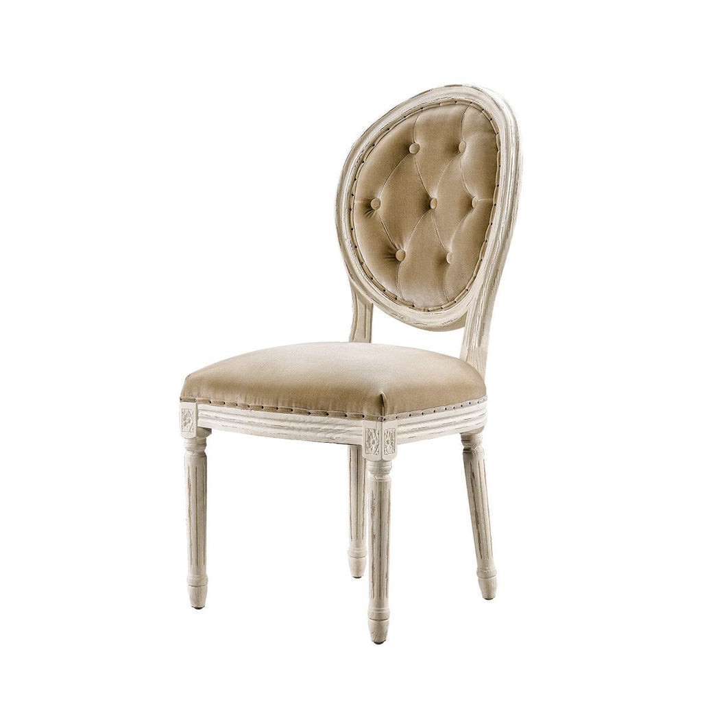 Curations Limited Vintage Louis Round Vintage White Button Side Chair