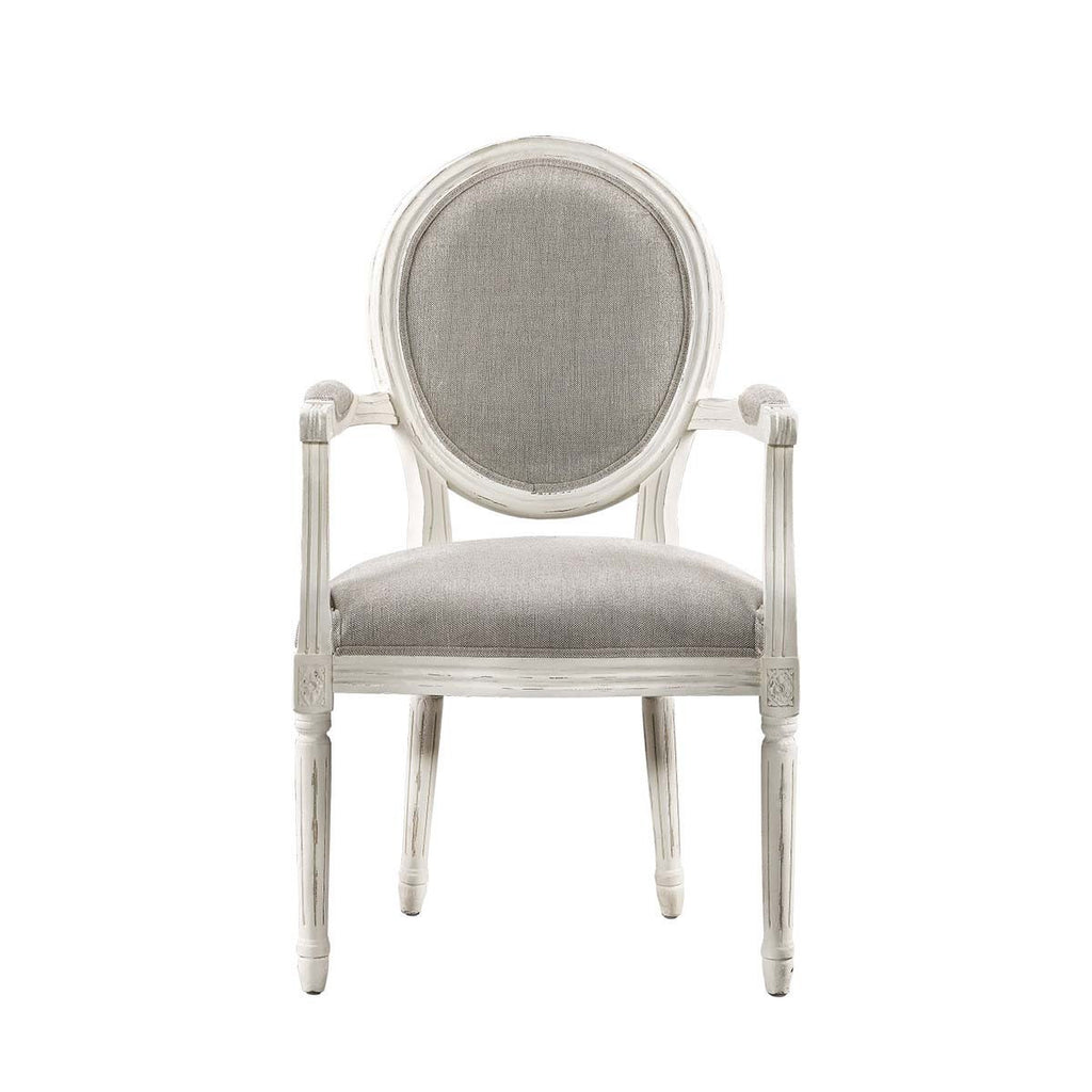 Curations Limited Vintage Louis Round Vintage White Arm Chair