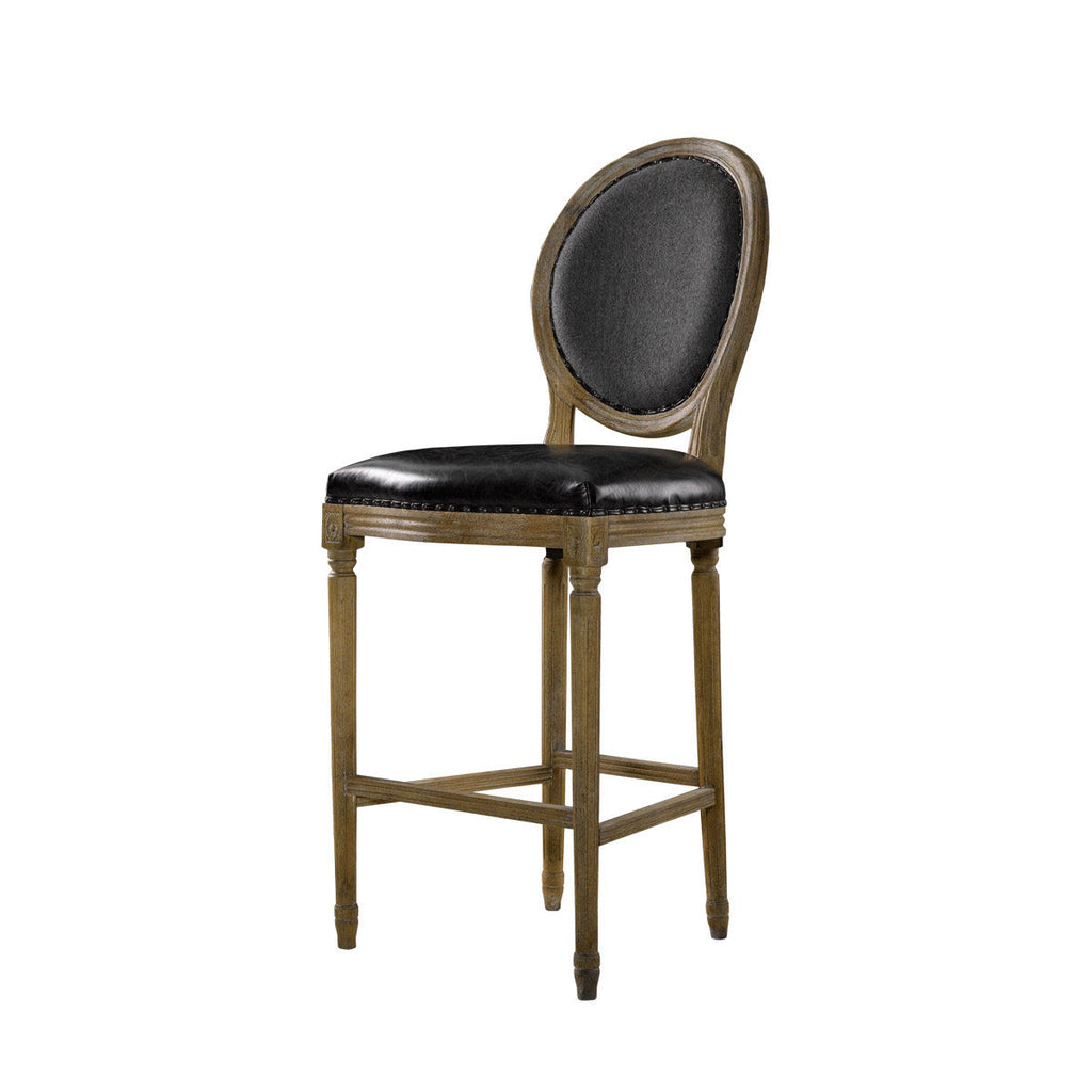 Curations Limited Vintage Louis Slate Back High Bar Stool